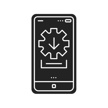 Installer black glyph icon. Tool for installing, updating, and configuring your products safely, securely. Pictogram for web page, mobile app. UI UX GUI design element  イラスト・ベクター素材