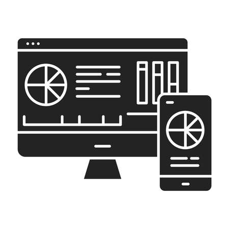 Mobile business intelligence BI color line icon. System comprising both technical and organizational elements. Pictogram for web page, mobile app, promo. UI UX GUI design element