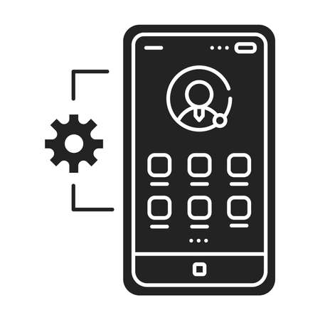 Mobile application management black glyph icon. Describes software and services responsible for provisioning access to internally developed mobile apps. UI UX GUI design element.