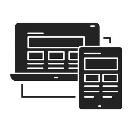 Responsive design black glyph icon. Approach to web design that makes web pages render well on a variety of devices and window. UI UX GUI design element