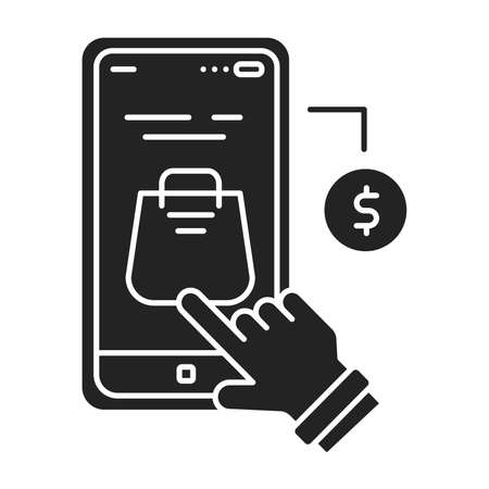 App purchase black glyph icon. Refers to the buying of goods and services from inside an application on a mobile device. UI UX GUI design element 向量圖像