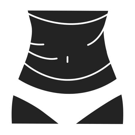 Body wrap black glyph icon. Wrap of belly. Nourishing cocoon designed to slim and tone your body, hydrate, cleanse or heal your skin. Pictogram for web page, mobile app, promo 向量圖像