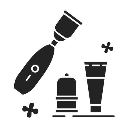 Anti-cellulite vacuum massager black glyph icon. Device that is based on the vacuum therapy technique for improving body structure. Pictogram for web page, mobile app, promo