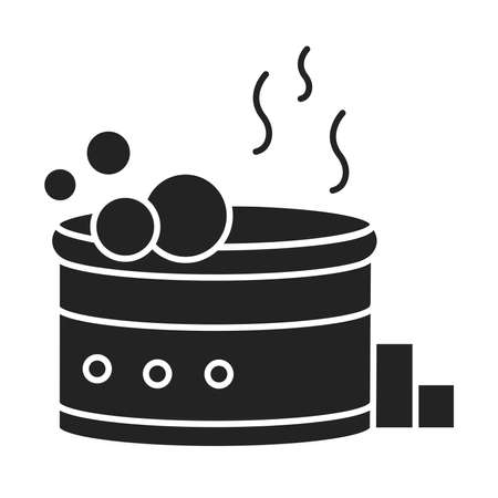 bath tab black glyph icon. A hot tub or whirlpool bath with underwater jets that massage the body. Pictogram for web page, mobile app, promo. UI UX GUI design element