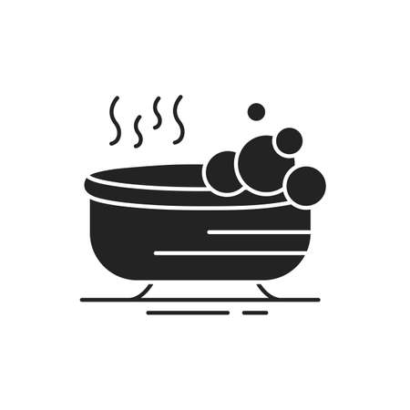 Relaxing bath black glyph icon. Special hot bath for relax and reducing stress. Pictogram for web page, mobile app, promo. UI UX GUI design element