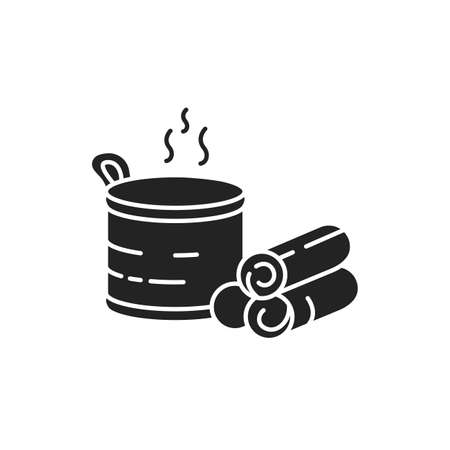 Sauna black glyph icon. Place to experience dry or wet heat sessions. Pictogram for web page, mobile app, promo. UI UX GUI design element