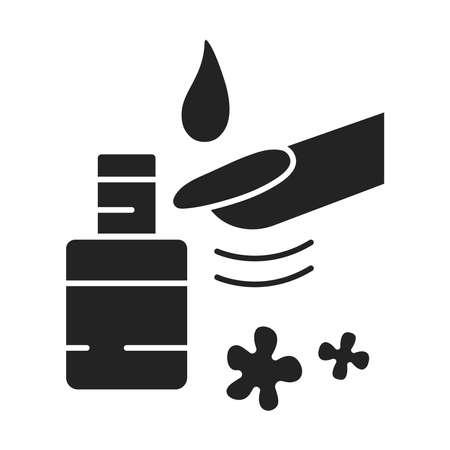 SPA nails black glyphicon. Cosmetic beauty treatment for the fingernails. Manicure. Pictogram for web page, mobile app, promo. UI UX GUI design element