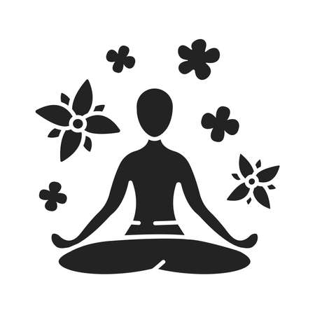 Yoga pose black glyph icon. Asana. Body posture, originally and still a general term for a sitting meditation pose. Pictogram for web page, mobile app, promo. UI UX GUI design element