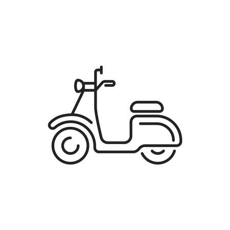 Scooter black line icon. City transport rental. Pictogram for web, mobile app, promo. UI UX design element.