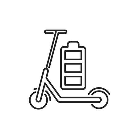 Electric scooter black line icon. City transport rental. Pictogram for web, mobile app, promo. UI UX design element. Editable stroke. 向量圖像