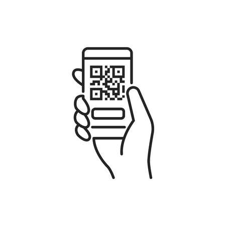Mobile application, QR code scanning in smartphone black line icon. City transport rental. Pictogram for web, mobile app, promo. UI UX design element.