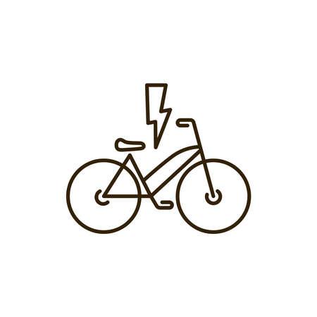 Electric bicycle black line icon. City transport rental. Pictogram for web, mobile app, promo. UI UX design element. Editable stroke. 向量圖像