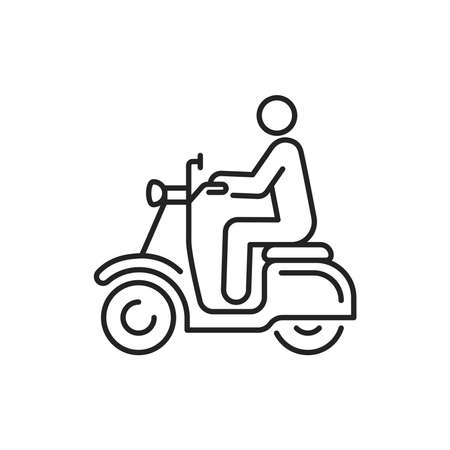 Person rides scooter black line icon. City transport rental. Pictogram for web, mobile app, promo. UI UX design element. Editable stroke.