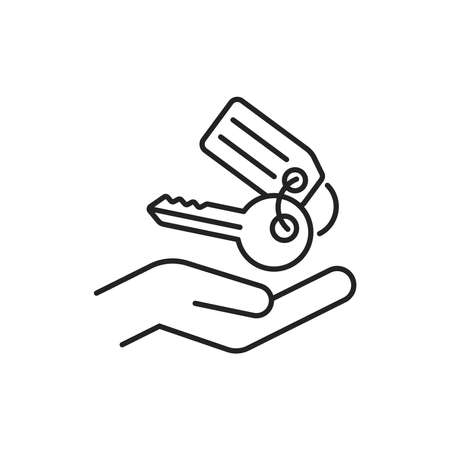 Hand holding keys black line icon. Rental service. Pictogram for web, mobile app, promo. UI UX design element. Editable stroke