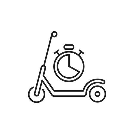 Scooter rental time black line icon. City transport. Pictogram for web, mobile app, promo. UI UX design element. Editable stroke. Ilustracja