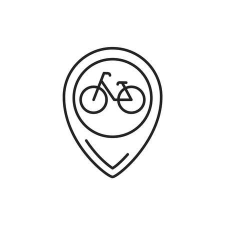 Location bicycle black line icon. City transport rental. Sharing service. Pictogram for web, mobile app, promo. UI UX design element. Editable stroke.