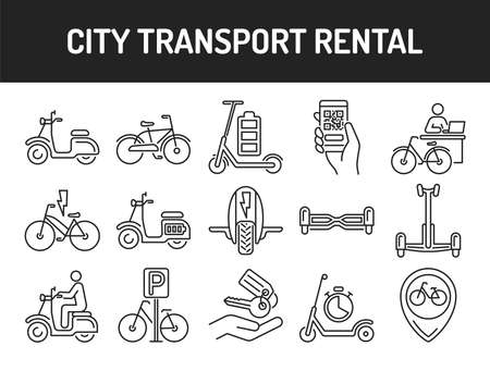 City transport rental black line icons set. Ecological vehicle: bicycle, monowheel, gyrobord, gyroscooter, scooter. Pictograms for web, mobile app, promo. UI UX design element. Editable stroke