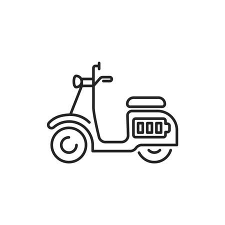 Electric scooter black line icon. City transport rental. Pictogram for web, mobile app, promo. UI UX design element. Editable stroke. Ilustracja