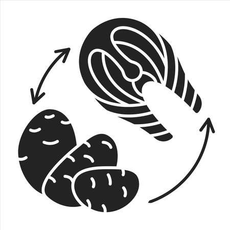 Cyclic keto diet black glyph icon. Variation of the ketogenic diet. Involves eating clean carbohydrates one or two days out of the week. Pictogram for web page, mobile app, promo
