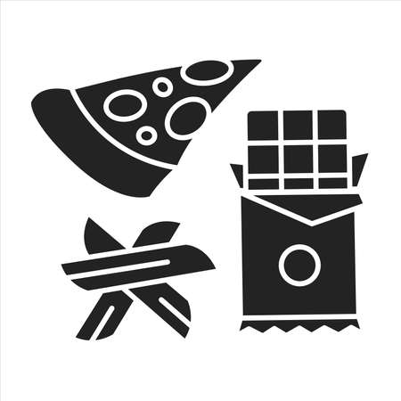 Dirty keto black glyph icon. Lazy keto. Allows for highly processed and packaged foods. Pictogram for web page, mobile app, promo. UI UX GUI design element. Ilustracja