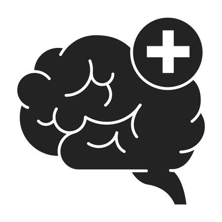 Improving brain activity black glyph icon. Exercising the brain to improve memory, focus, or daily functionality. Pictogram for web page, mobile app, promo. UI UX GUI design element.