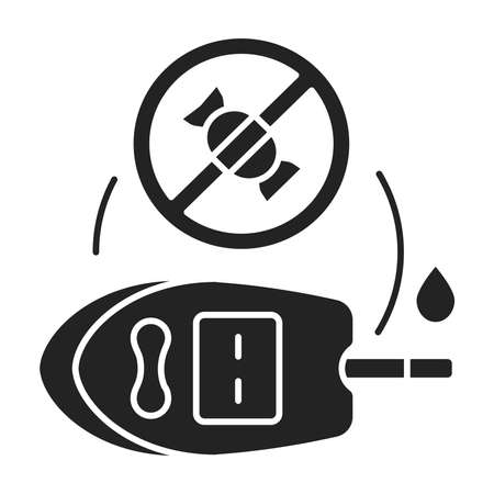 Ketogenic diets for diabetic black glyph icon. High-fat, moderate protein, very low-carbohydrate diet. Pictogram for web page, mobile app, promo. UI UX GUI design element.
