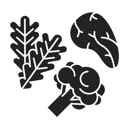 Low carbs black glyph icon. Limits carbohydrates such as those found in grains, starchy vegetables and fruit. Pictogram for web page, mobile app, promo. UI UX GUI design element.