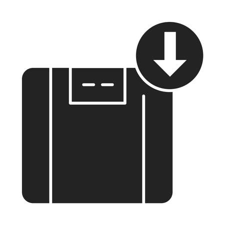 Weight loss black glyph icon. Refers to a reduction of the total body mass, due to a mean loss of fluid, body fat. Pictogram for web page, mobile app, promo. UI UX GUI design element