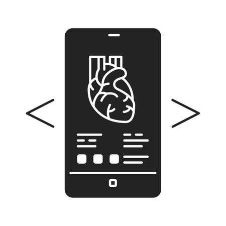 Augmented reality in medicine black glyph icon. Medical examination app in smartphone. Pictogram for web page, mobile app, promo. UI UX GUI design element