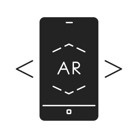 Augmented reality app in smartphone black glyph icon. Pictogram for web page, mobile app, promo. UI UX GUI design element. Ilustracja