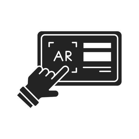 Augmented reality in printing black glyph icon. Pictogram for web page, mobile app, promo. UI UX GUI design element