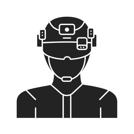 Augmented reality in military black glyph icon. Man in VR helmet. Pictogram for web page, mobile app, promo. UI UX GUI design element