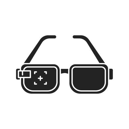 Virtual reality glasses black glyph icon. Innovative digital device. Pictogram for web page, mobile app, promo. UI UX GUI design element
