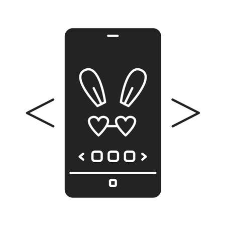 Digital face application black glyph icon. Photo filter bunny ears in smartphone. Pictogram for web page, mobile app, promo. UI UX GUI design element Ilustracja