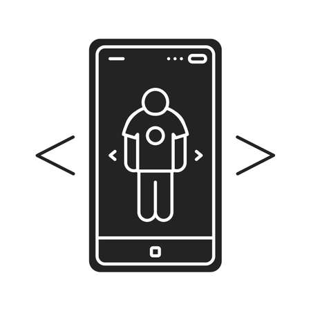 Augmented reality online shopping black glyph icon. Virtual fitting room in smartphone. Pictogram for web page, mobile app, promo. UI UX GUI design element.