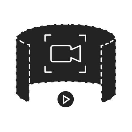 Augmented reality in cinema black glyph icon. Innovative digital entertainment. Pictogram for web page, mobile app, promo. UI UX GUI design element.