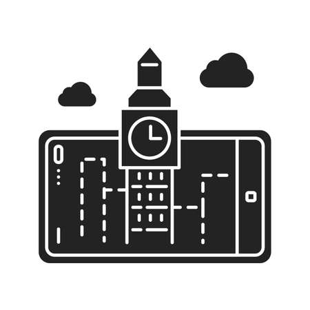 Augmented reality tourism black glyph icon. Big ben projection in smartphone. Pictogram for web page, mobile app, promo. UI UX GUI design element Ilustracja