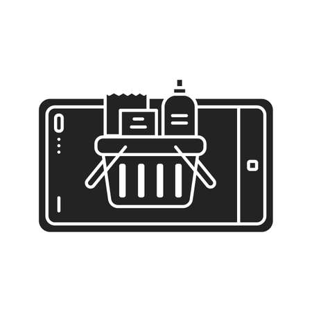 Augmented reality online shopping black glyph icon. Virtual grocery store in smartphone. Pictogram for web page, mobile app, promo. UI UX GUI design element Ilustracja