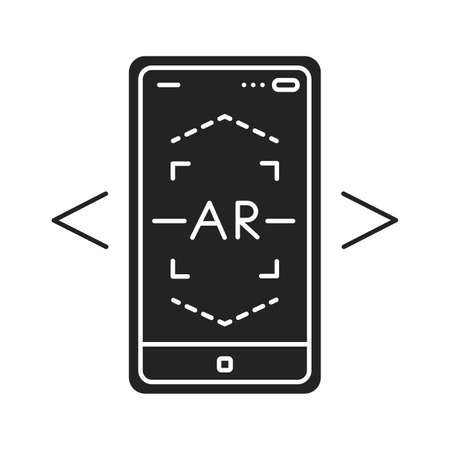 AR scanning black glyph icon. Interactive visualization platform. Pictogram for web page, mobile app, promo. UI UX GUI design element