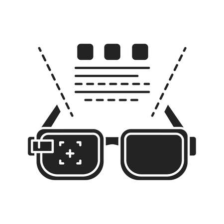 Augmented reality education black glyph icon. VR glasses and information projection. Pictogram for web page, mobile app, promo. UI UX GUI design element