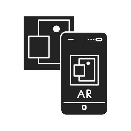 Augmented reality art gallery black glyph icon. Virtual exhibition. Pictogram for web page, mobile app, promo. UI UX GUI design element