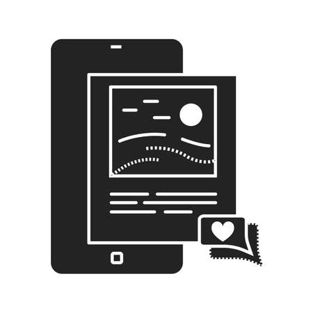 Blog posting black glyph icon. Social media information sign. Content promotion in smartphone. Pictogram for web page, mobile app, promo. UI UX GUI design element.