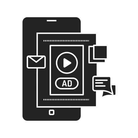 Blog advertising black glyph icon. Content promotion in smartphone. Pictogram for web page, mobile app, promo. UI UX GUI design element Ilustracja