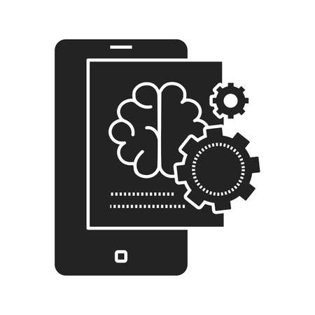 Brainstorming creative idea black glyph icon. Creative idea sign. Brain and gears in smartphone. Pictogram for web page, mobile app, promo. UI UX GUI design element.