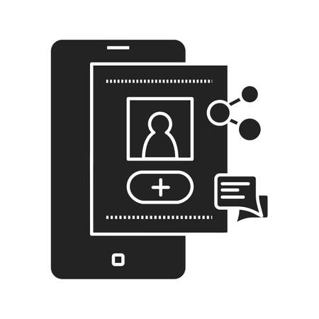 Account registration black glyph icon. Social media information sign. Create blog in smartphone. Pictogram for web page, mobile app, promo. UI UX GUI design element.