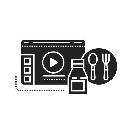 Food blog web site black glyph icon. Cooking video. Online recipes sign. Pictogram for web page, mobile app, promo. UI UX GUI design element.