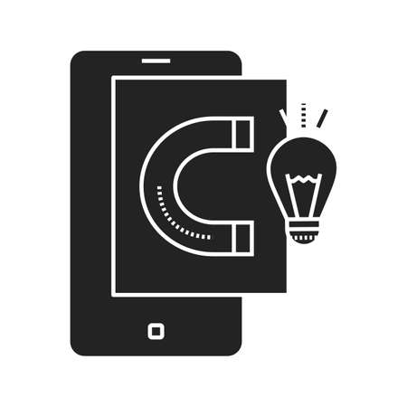 Gathering ideas black glyph icon. Search and analysis of information in smartphone. Pictogram for web page, mobile app, promo. UI UX GUI design element.