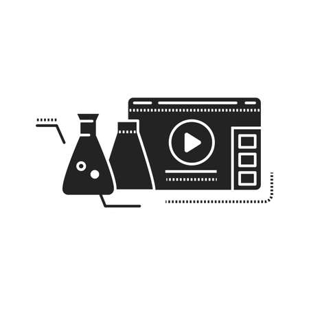 Science blog web site black glyph icon. Nano industry video streaming. Vlogging sign. Pictogram for web page, mobile app, promo. UI UX GUI design element.