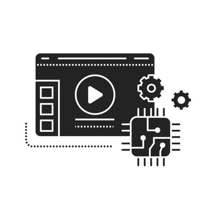 Technology blog web site black glyph icon. Overview technology and models gadgets and devices video streaming. Vlogging sign. Pictogram for web page, mobile app, promo. UI UX GUI design element