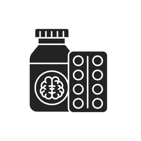 Pill bottle and blister glyph black icon. Pharmaceutical product. Dementia treatment. Ilustracja